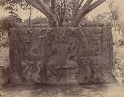 Large sculptured slab with figure of Brahma, at Dharwar.